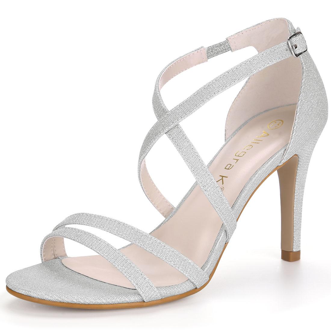 Allegra K Women's Glitter Design Stiletto Heel Strappy Sandals Silver US 6