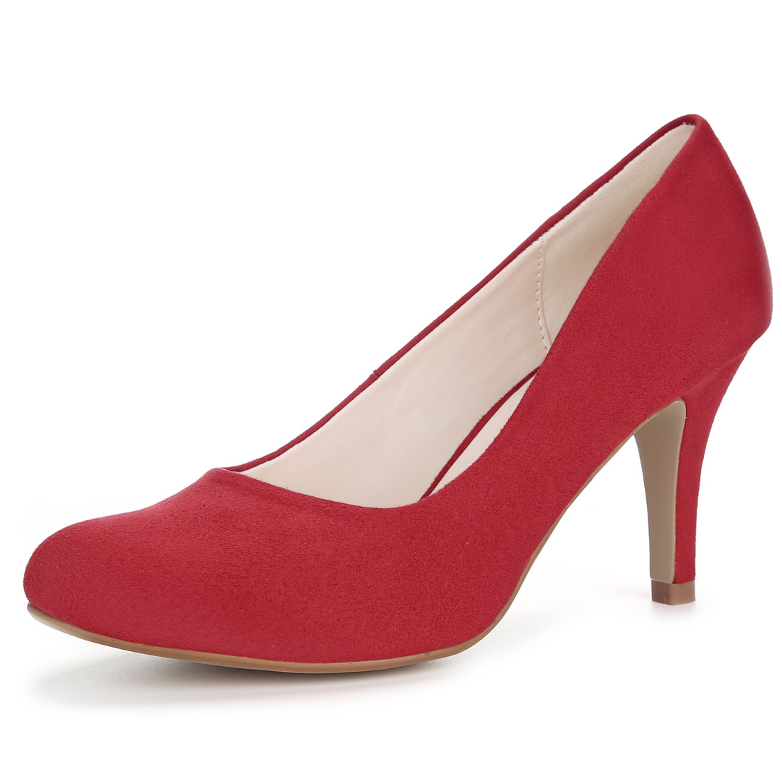 Women Rounded Toe Stiletto High Heel Classic Pumps Red US 7.5