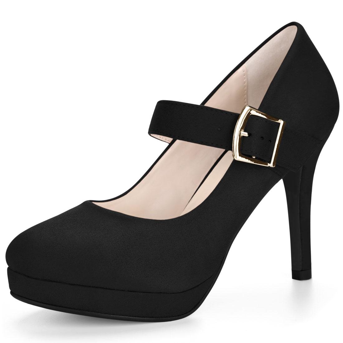 Allegra K Women's Rounded Toe Stiletto Platform Buckle Strap Pumps Black US 6