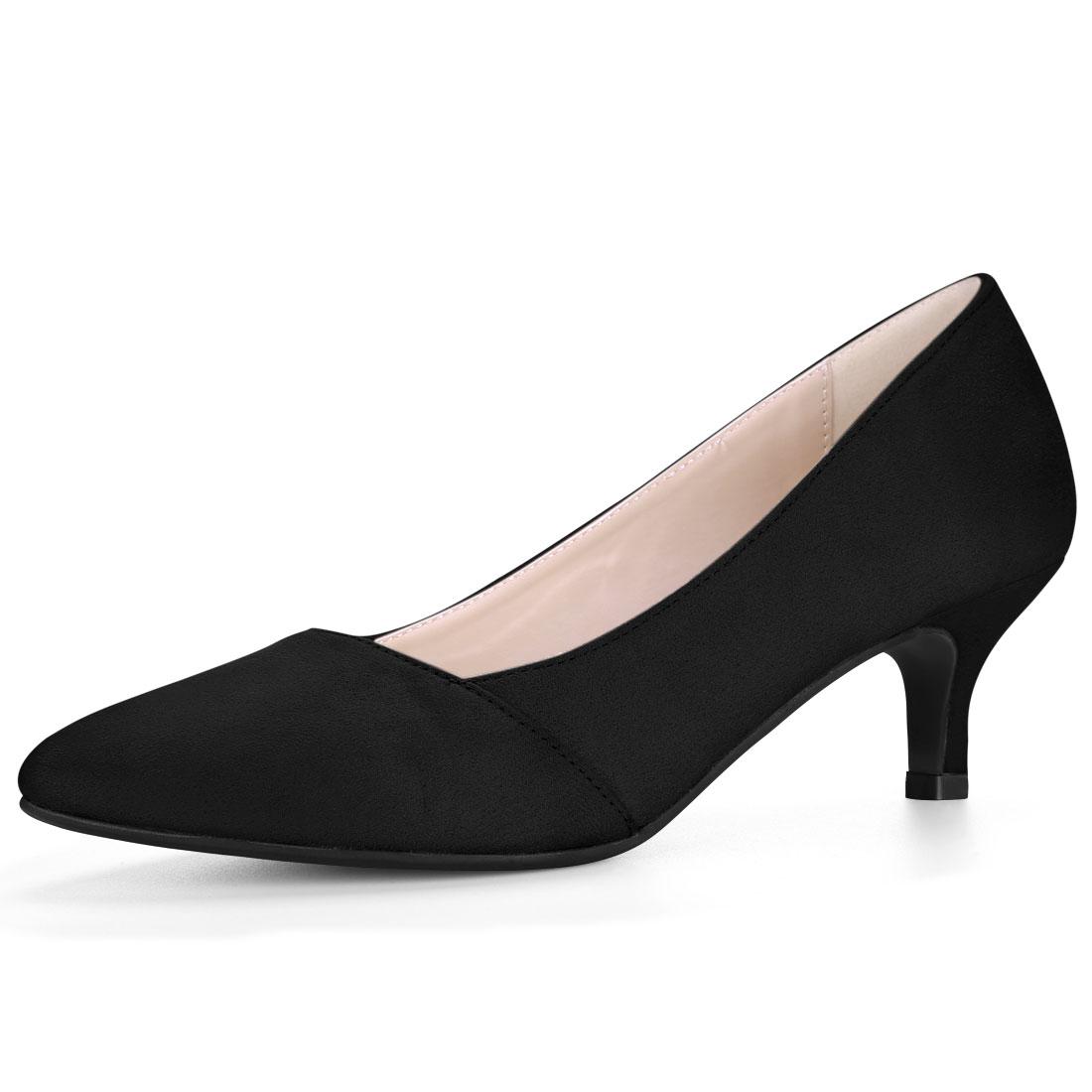 Women Pointed Toe Mid Stiletto Heel Pumps Black US 7