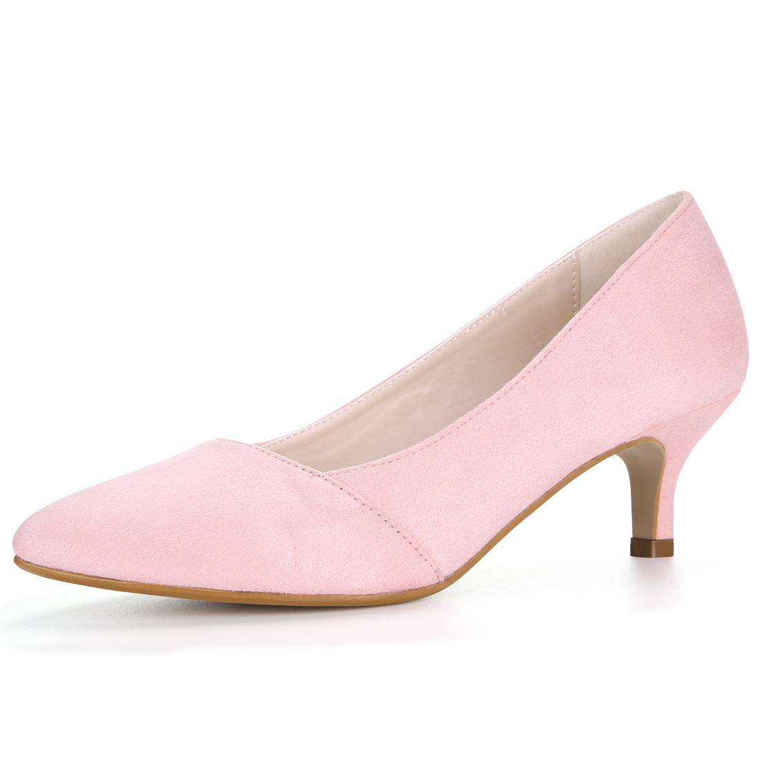 Women Pointed Toe Mid Stiletto Heel Pumps Pink US 5.5