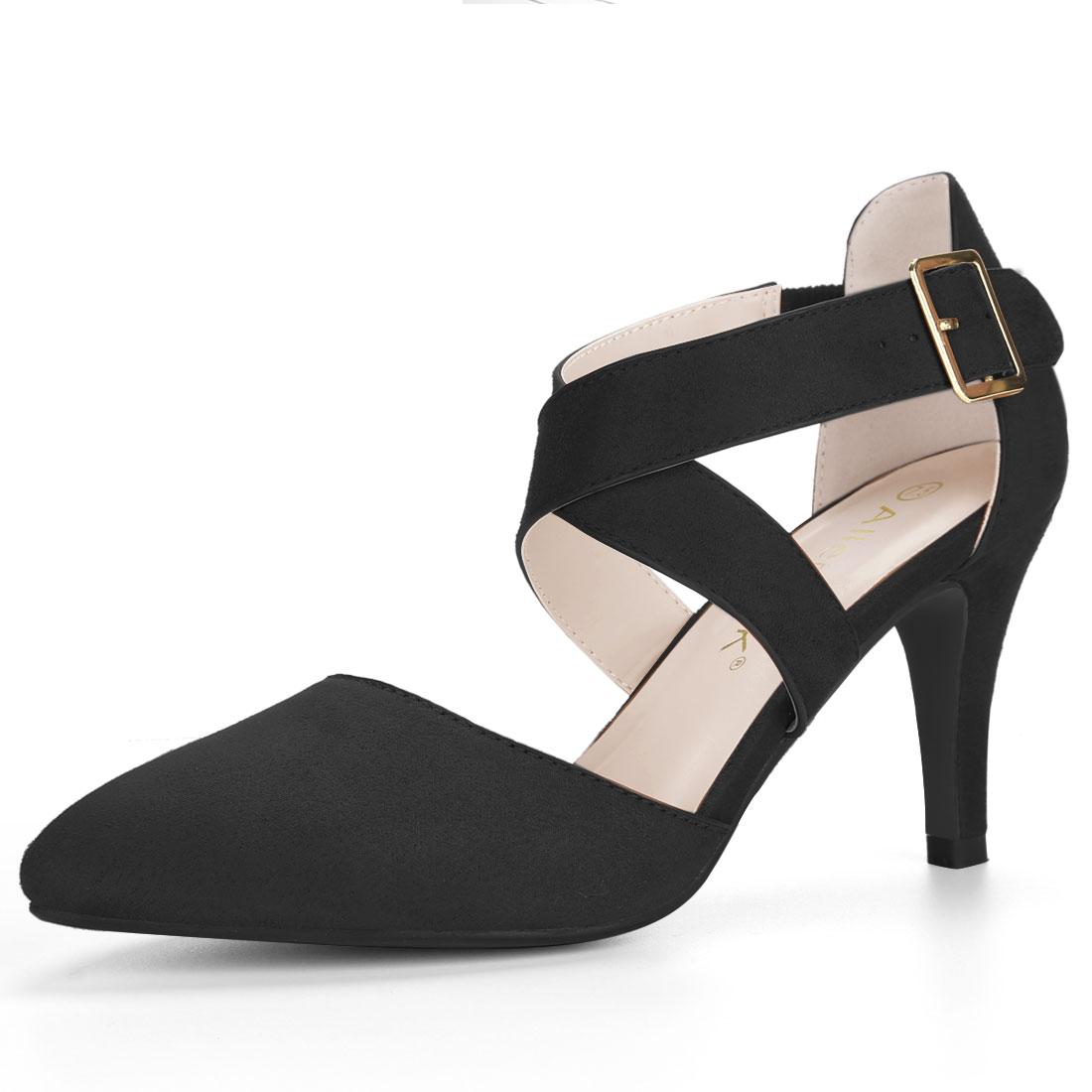 Allegra K Women's Crisscross Straps Stiletto Heel Ankle Strap Pumps Black US 7.5