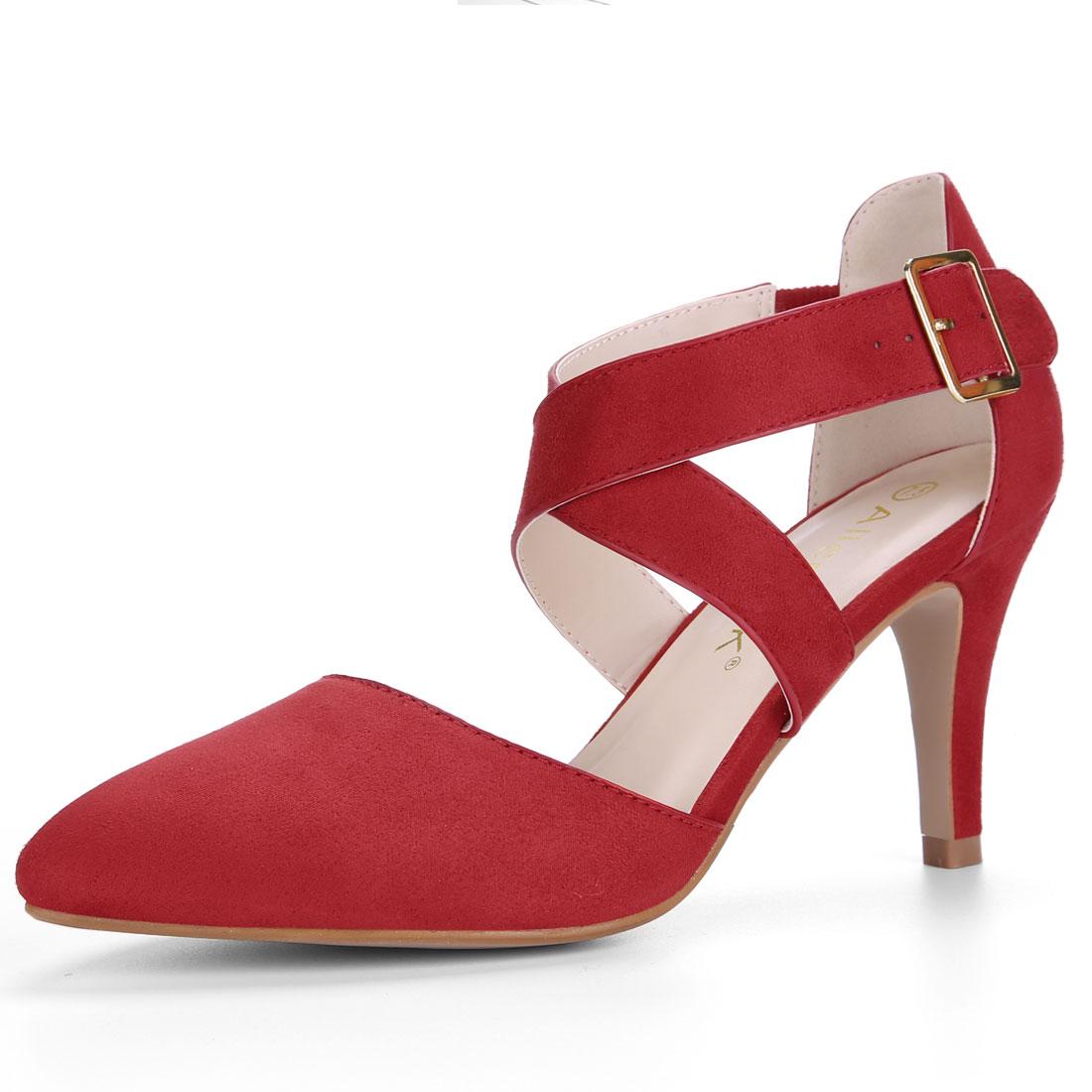 Allegra K Women's Crisscross Straps Stiletto Heel Ankle Strap Pumps Red US 7.5