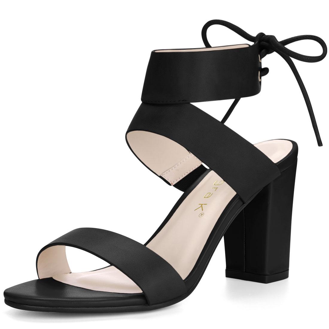 Women Open Toe Lace Up Back High Block Heel Sandals Black US 6.5