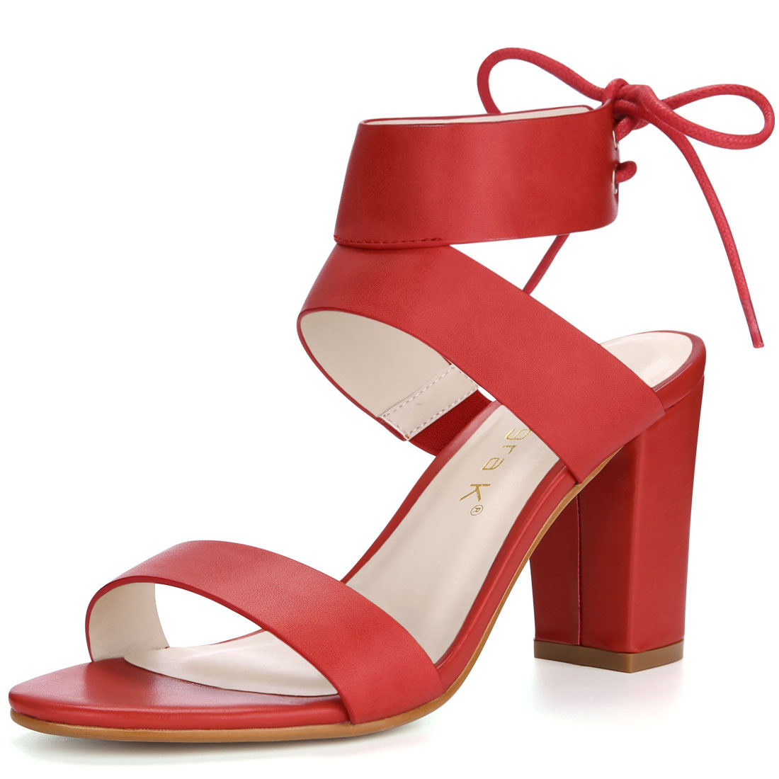 Women Open Toe Lace Up Back High Block Heel Sandals Red US 7.5