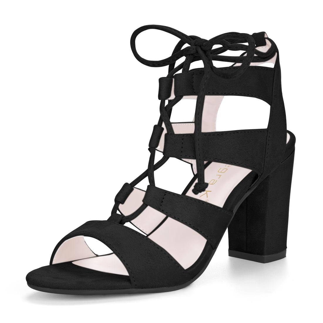 Allegra K Women's Tie Up Strappy Gladiator Block Heel Sandals Black US 7.5