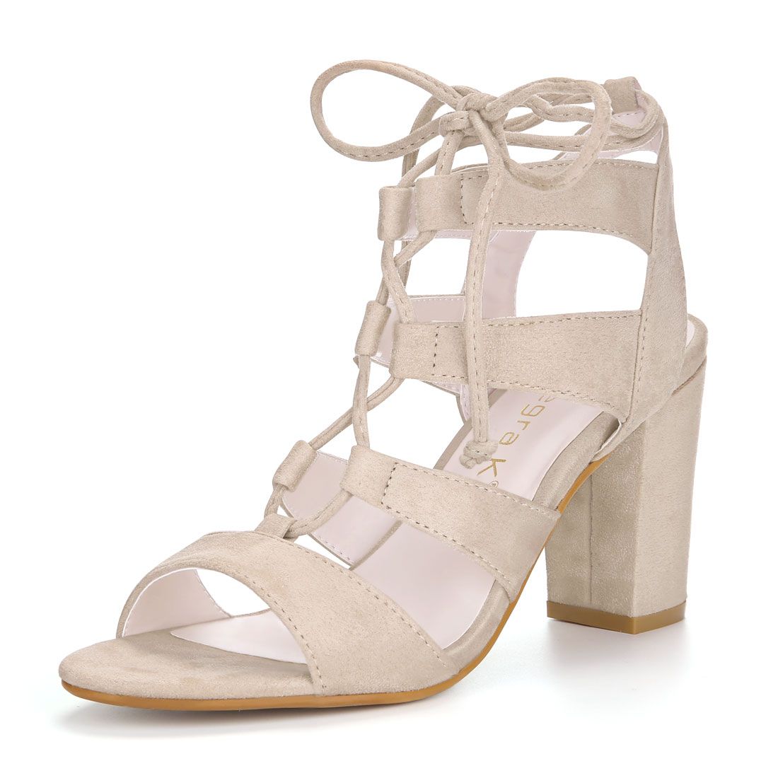 Allegra K Women's Tie Up Strappy Gladiator Block Heel Sandals Red US 9.5