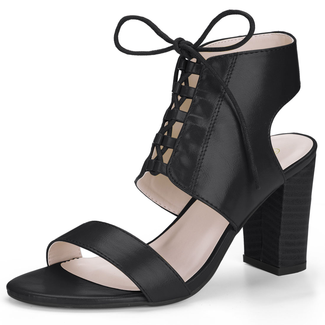 Women Stacked High Heel Open Toe Lace Up Sandals Black US 7.5