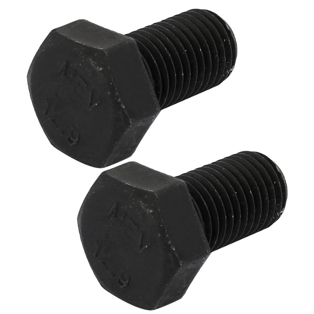 2pcs M16x30mm Thread 12.9 Grade External Hex Head Left Hand Screw Bolt Black