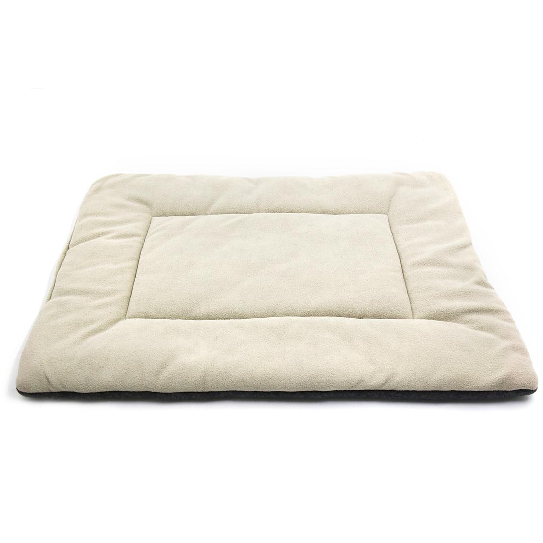 Fleece Reversible Mat Cushion Pad Bed for Dog Cat Puppy Pet Beige M