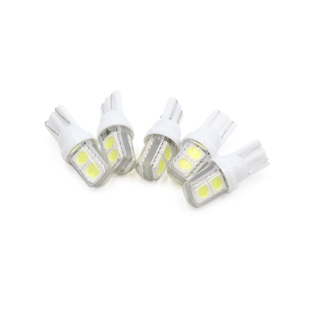 5pcs Silicone Shell T10 White 4 5050-SMD LED Car Interior Panel Light Lamp Bulb
