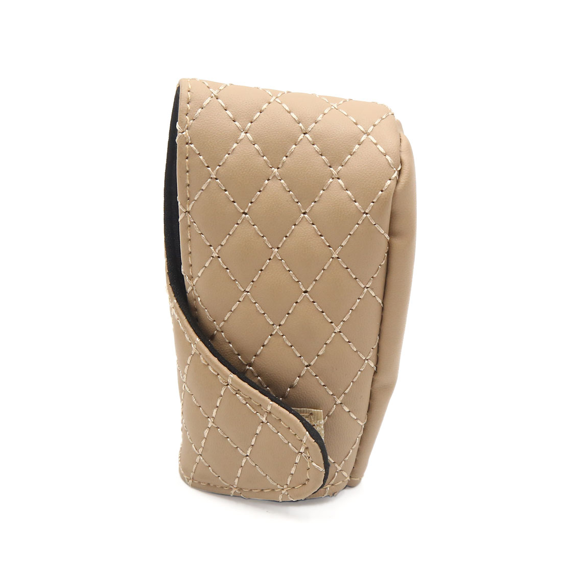 Universal Beige Faux Leather Shift Knob Cover Protective Sleeve for Auto Car