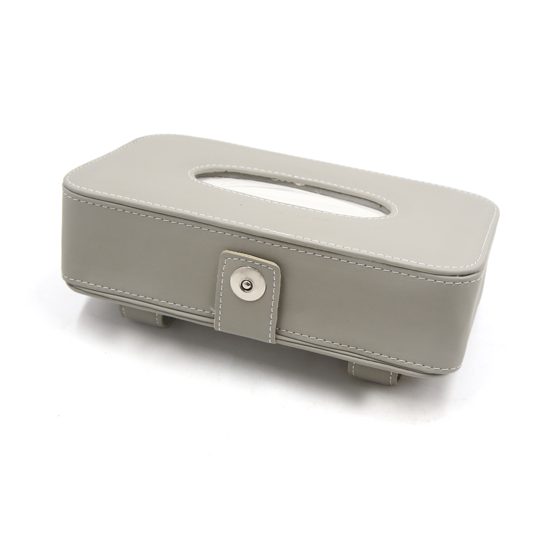 Gray Car Faux Leather Sun Visor Tissue Napkin Paper Holder Storage Box