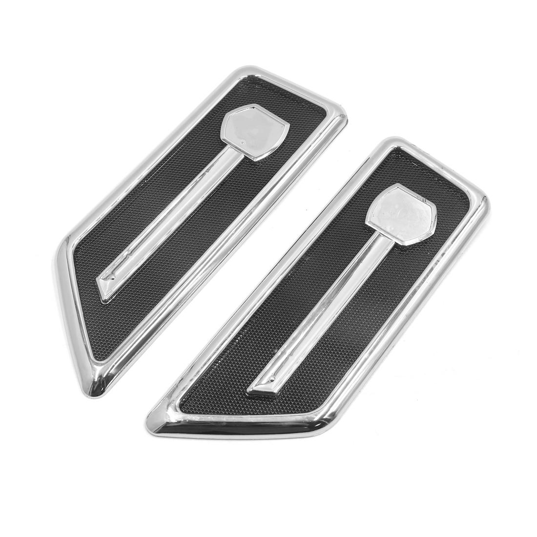 2Pcs Silver Tone Black Adhesive Car Side Fender Vent Air Flow Decoration Sticker