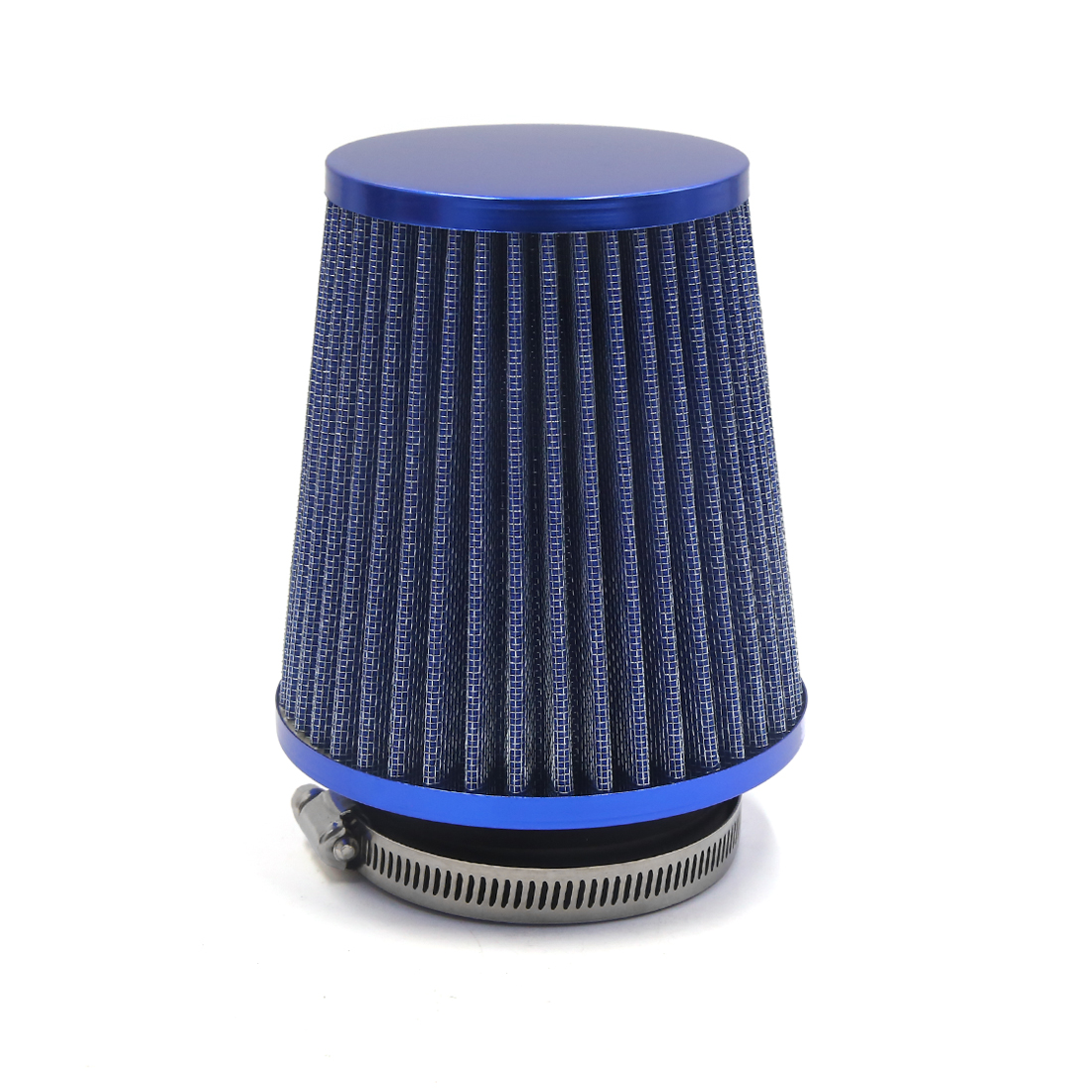 Blue 75mm Inlet Dia Car Auto Air Intake Filter Cleaner w Adjustable Clamp