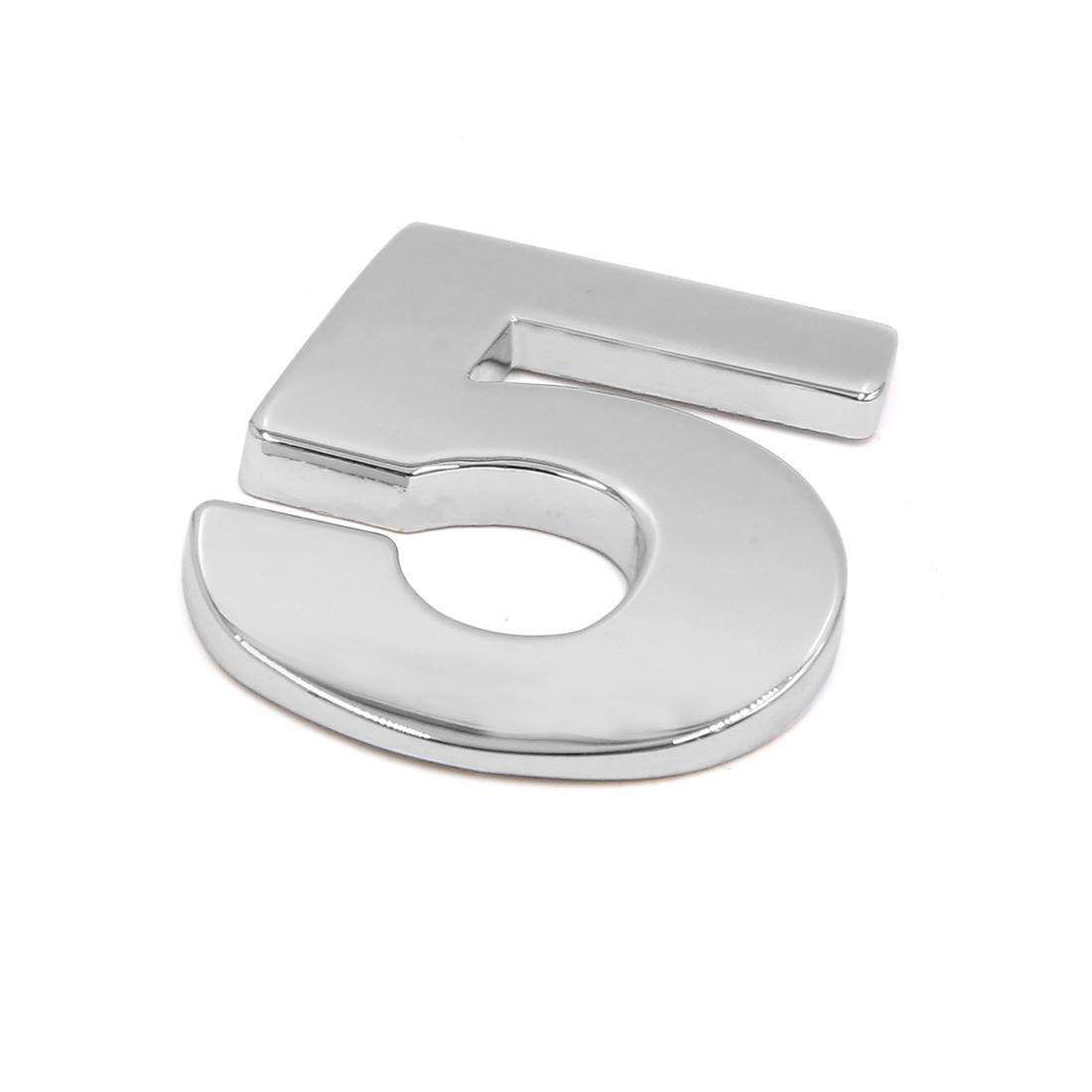 Silver Tone Metal 5 Digital Shaped Car Exterior Emblem Badge 3D Sticker Decor