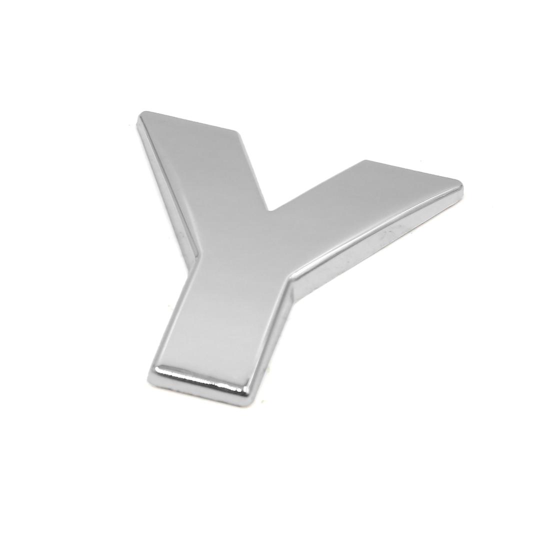 Silver Tone Metal Y Letter Shaped Car Auto Exterior Emblem 3D Sticker Decor
