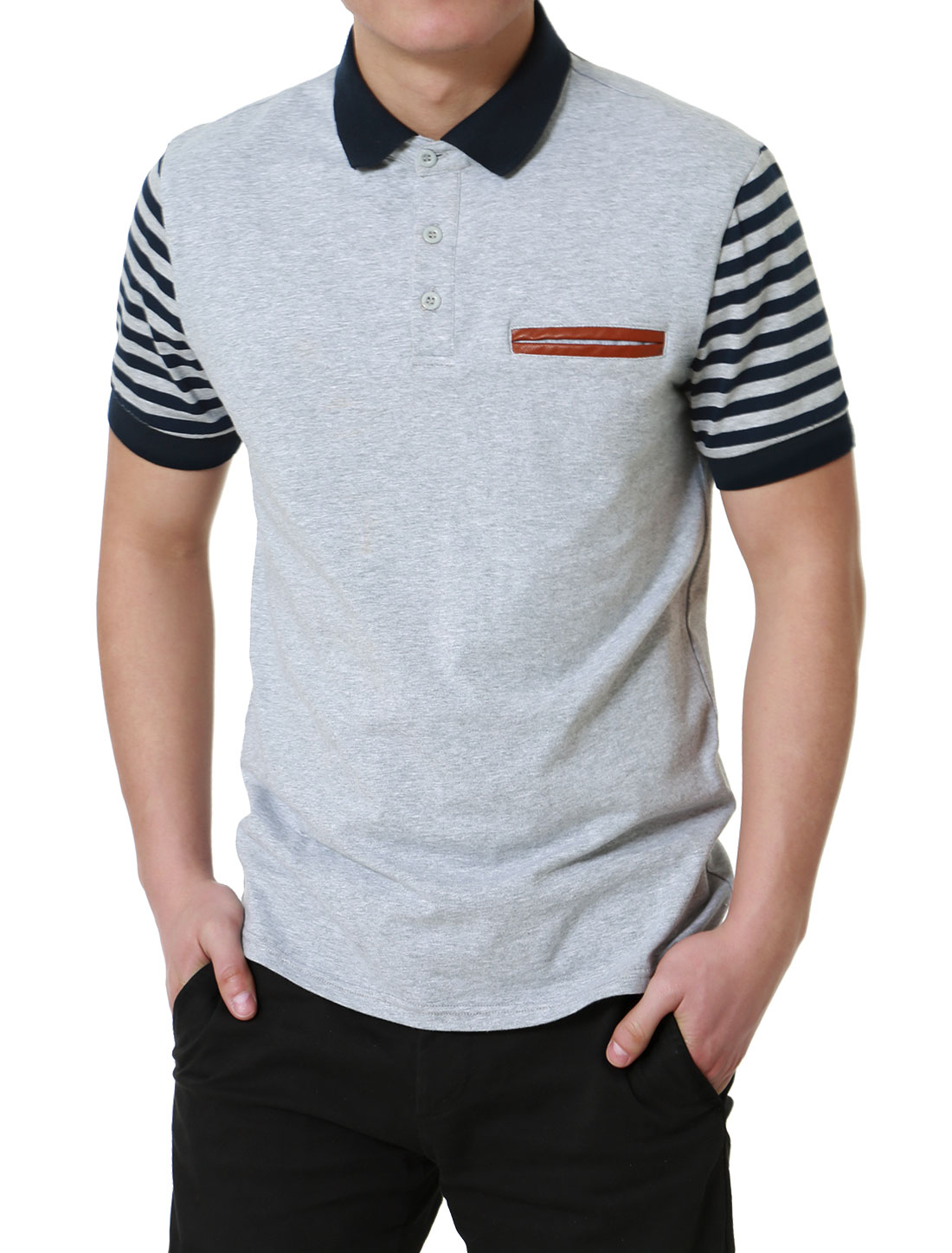 Men Regular Fit Pocket Stripe Short Sleeve Cotton Golf Polo Shirt Heather Gray S