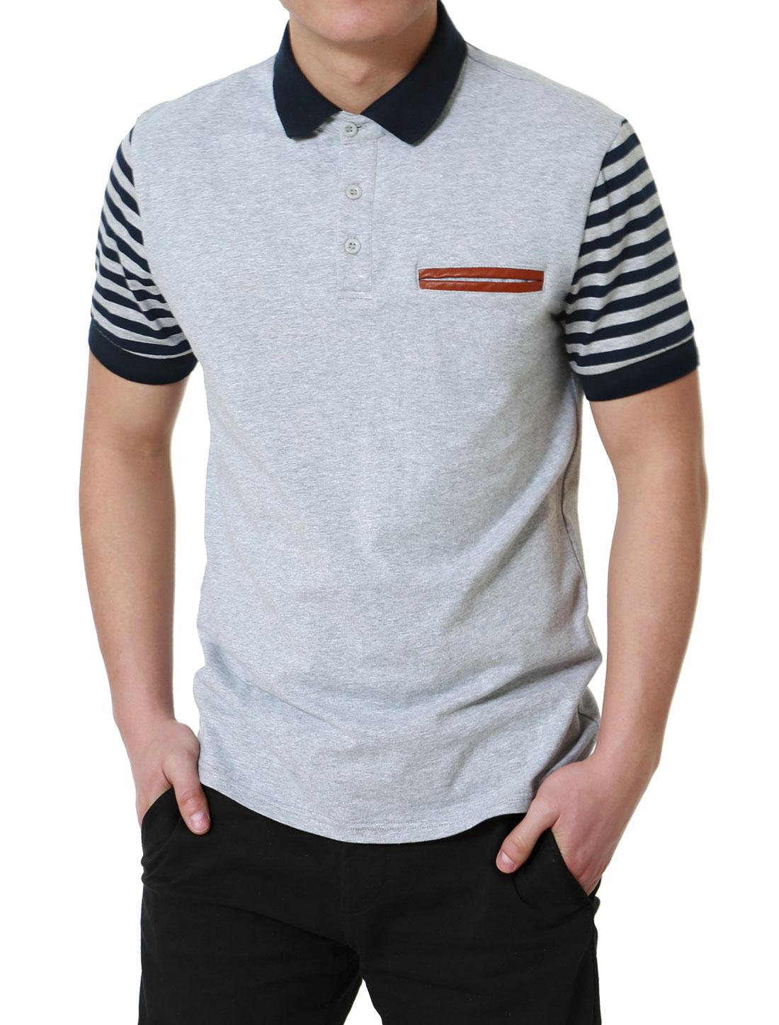 Men Basic Regular Fit Stripe Short Sleeve Cotton Golf Polo Shirt Heather Gray M