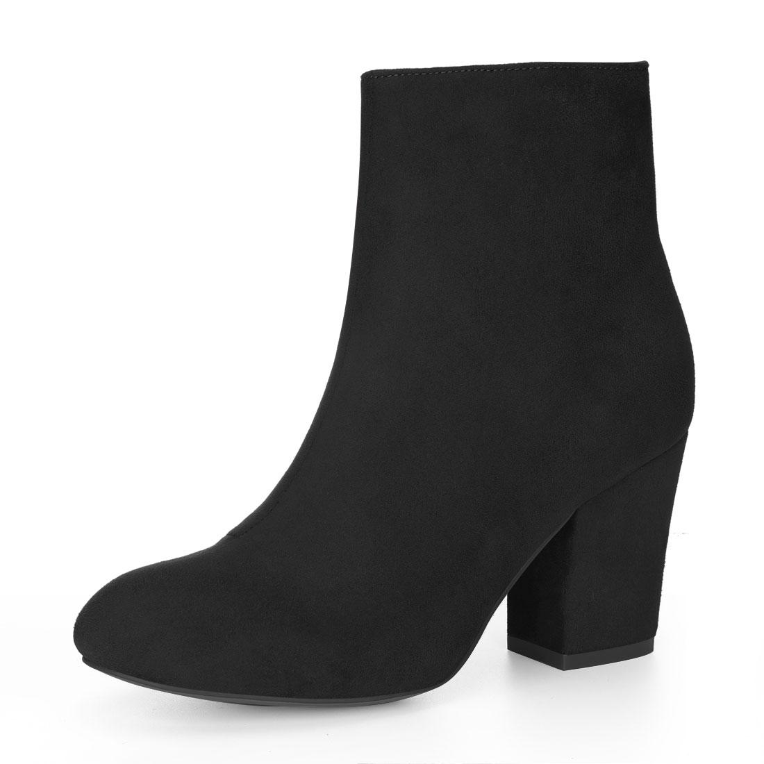 Allegra K Women Round Toe Side Zipper Block Heel Ankle Boots Black US 9