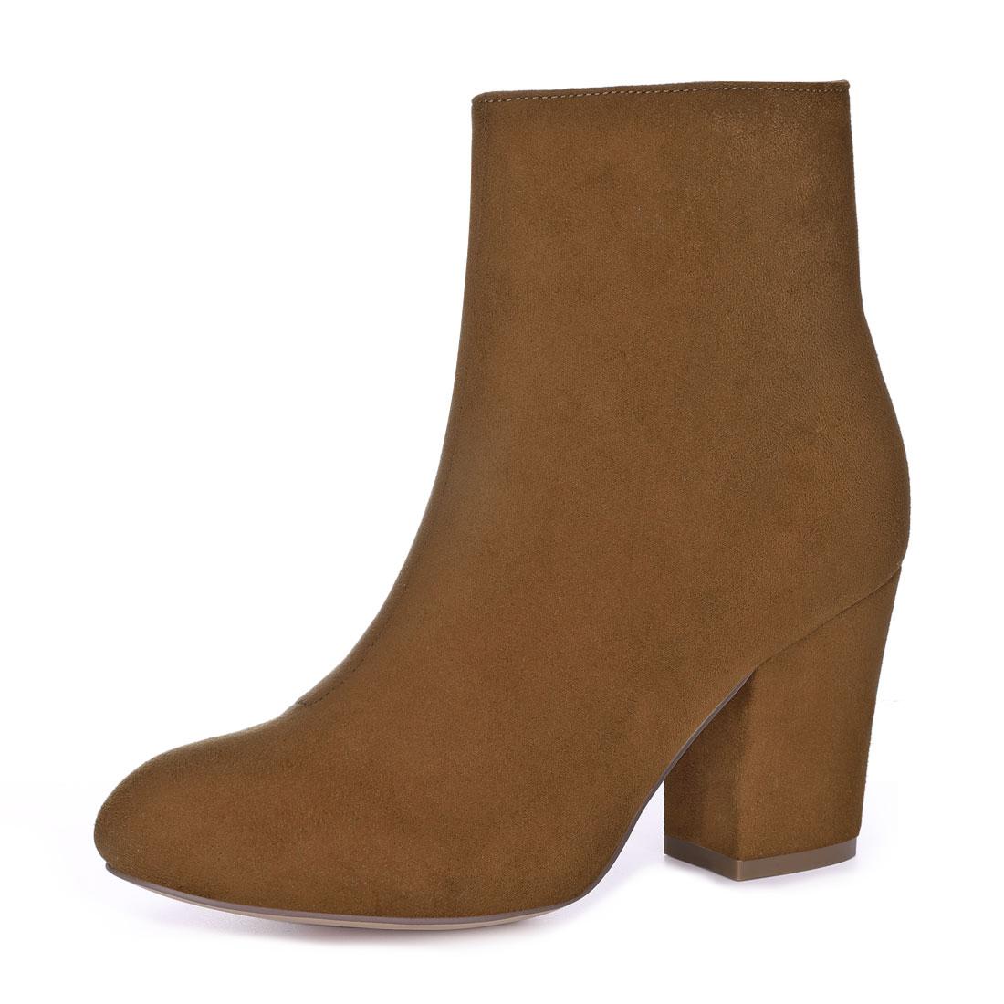 Allegra K Women Round Toe Side Zipper Block Heel Ankle Boots Brown US 7