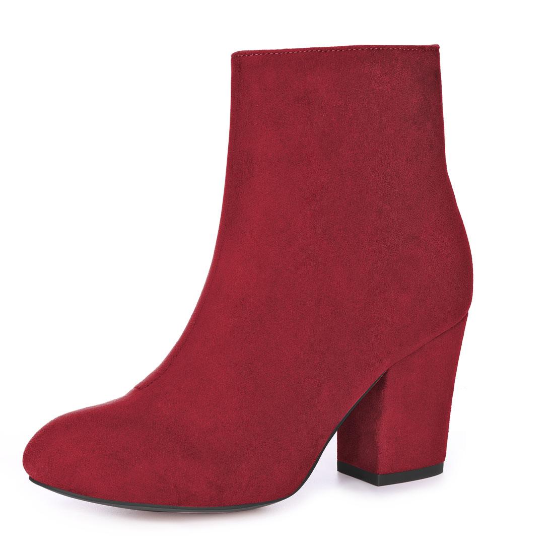 Allegra K Women Round Toe Side Zipper Block Heel Ankle Boots Red US 10