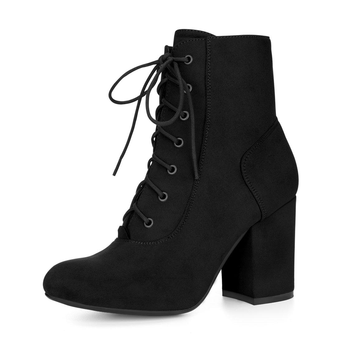 Allegra K Women Round Toe Chunky High Heel Lace Up Booties Black US 9