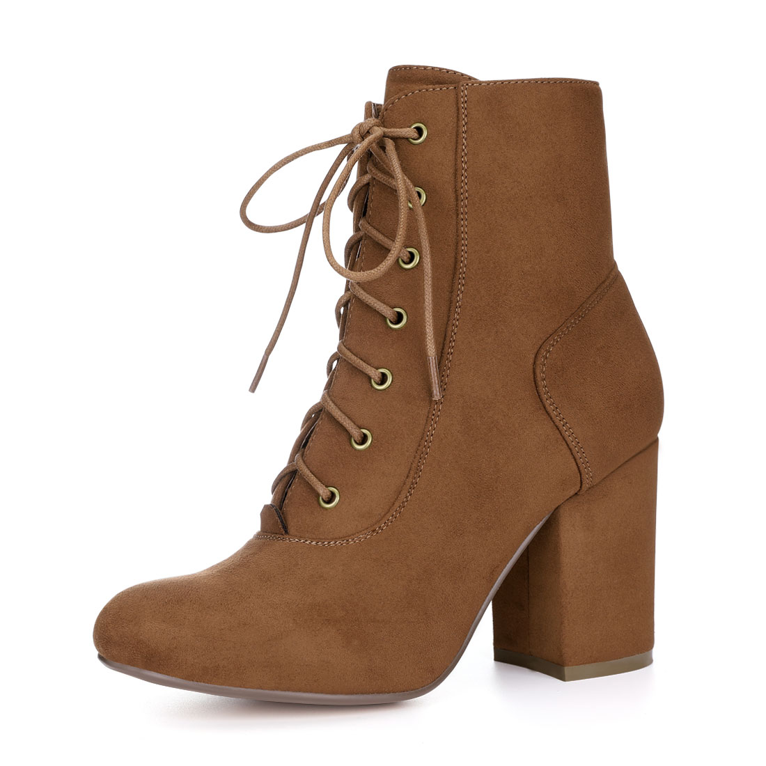 Allegra K Women Round Toe Chunky High Heel Lace Up Booties Brown US 6