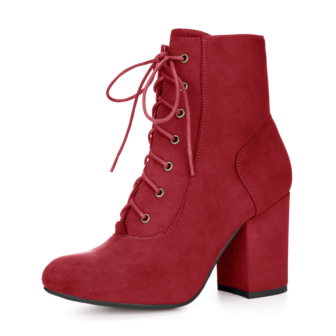 Allegra K Women Round Toe Chunky High Heel Lace Up Booties Red US 7