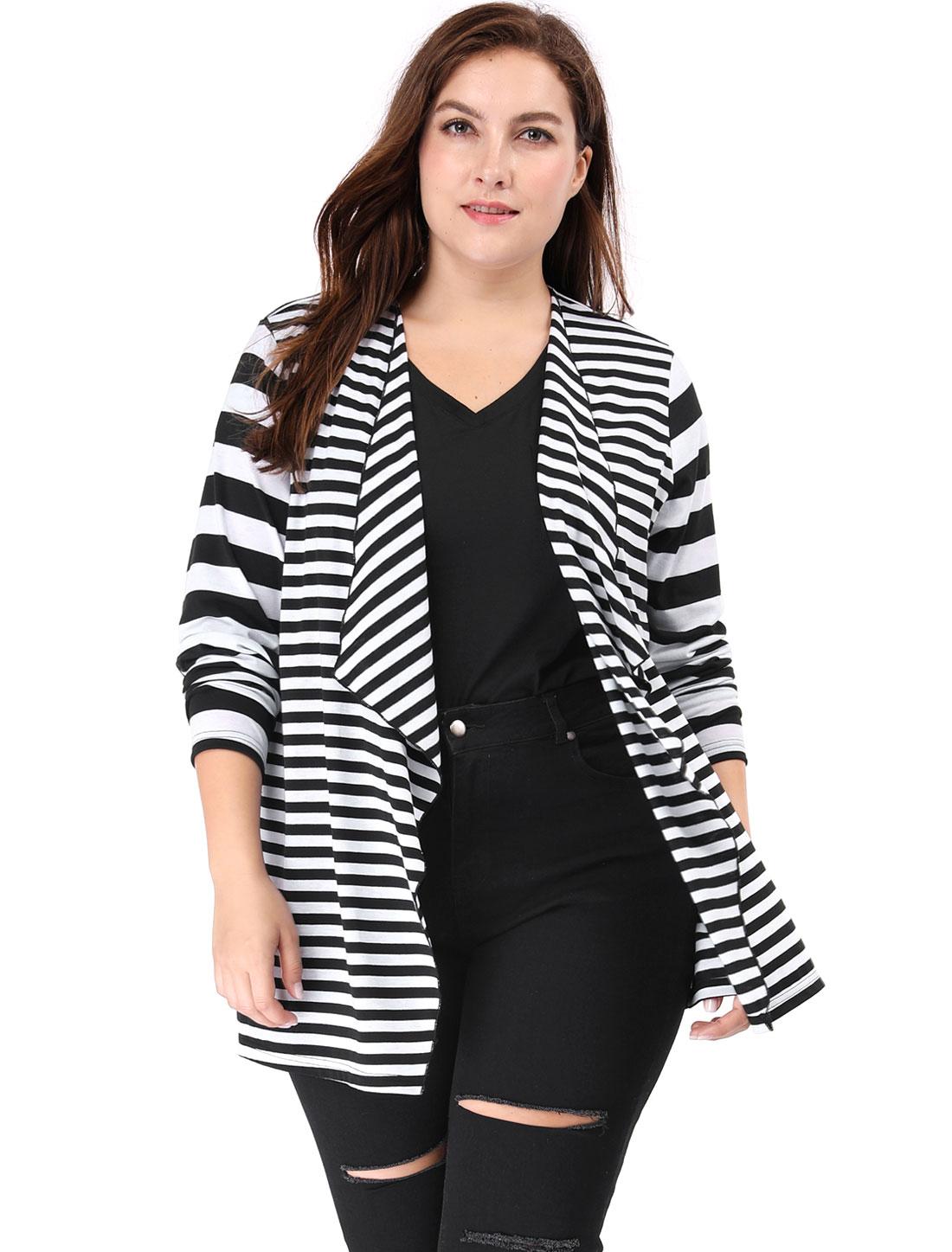 Women Plus Size Open Front Mixed Striped Cardigan Black 2X