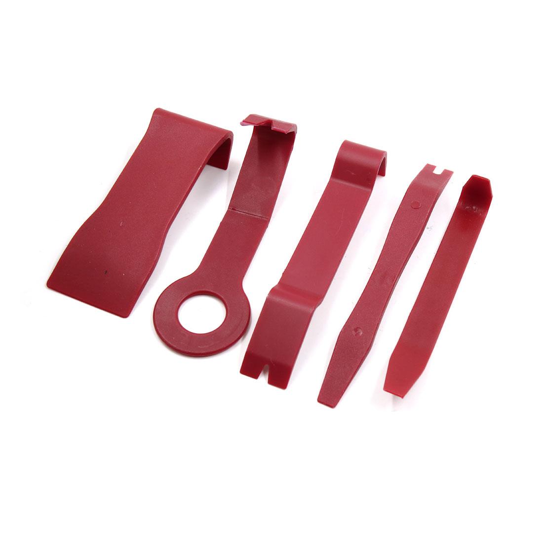 5 in 1 Red Car Door Clip Audio GPS Dashboard Installer Pry Tool Dismantle Kit