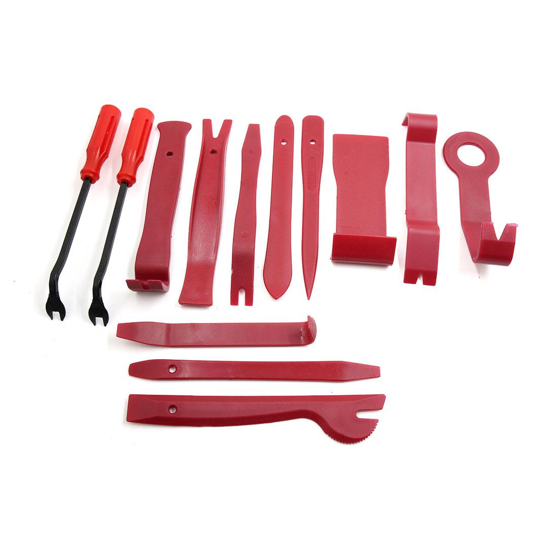 13 in 1 Red Car Door Clip Audio Installer Rivet Remover Pry Tool Dismantle Kit