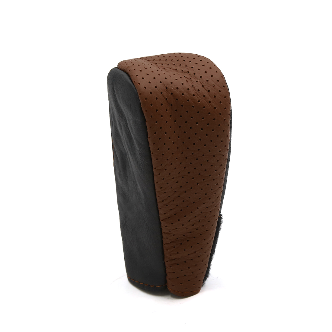 Faux Leather Hoop Loop Closure Car Gear Shift Knob Shifter Cover Protector Brown