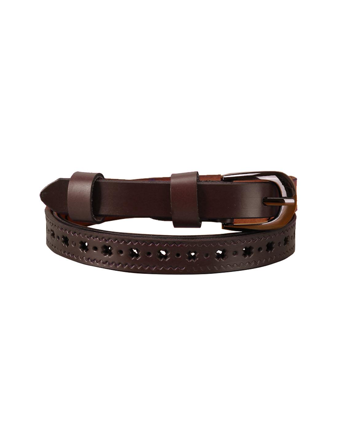 Women Stars Hollow Alloy Pin Buckle Faux Leather Belt Dark Brown