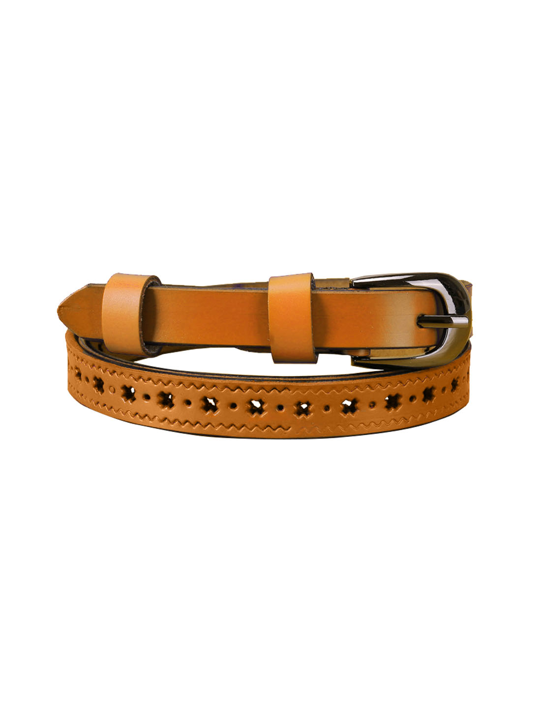Women Stars Hollow Alloy Pin Buckle Faux Leather Belt Camel