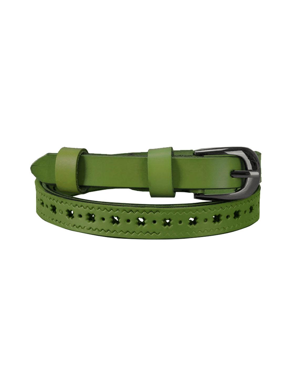 Women Stars Hollow Alloy Pin Buckle Faux Leather Belt Dusty Green
