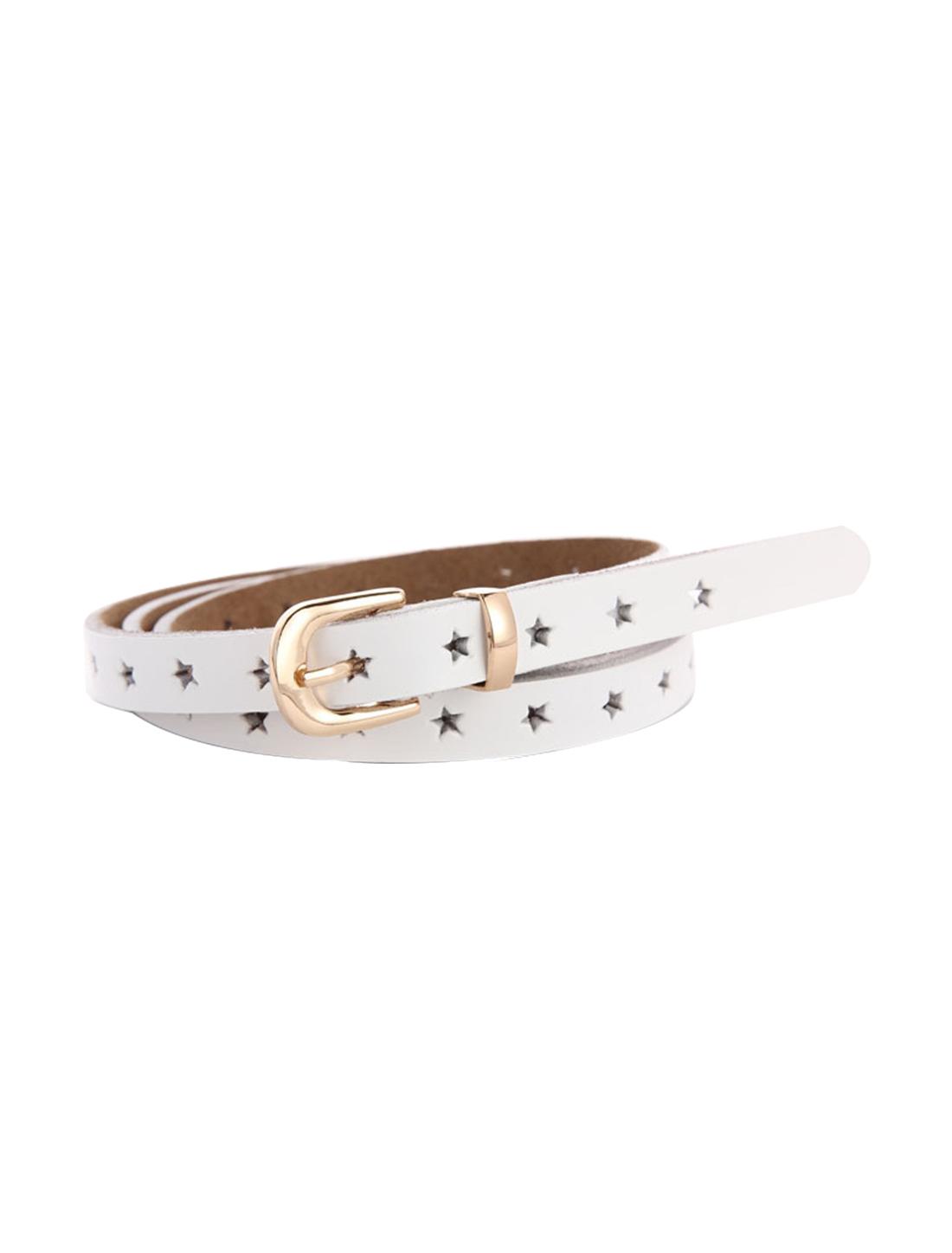 "Women Stars Hollow Alloy Pin Buckle Leather Skinny Belt Width 5/8"" White"