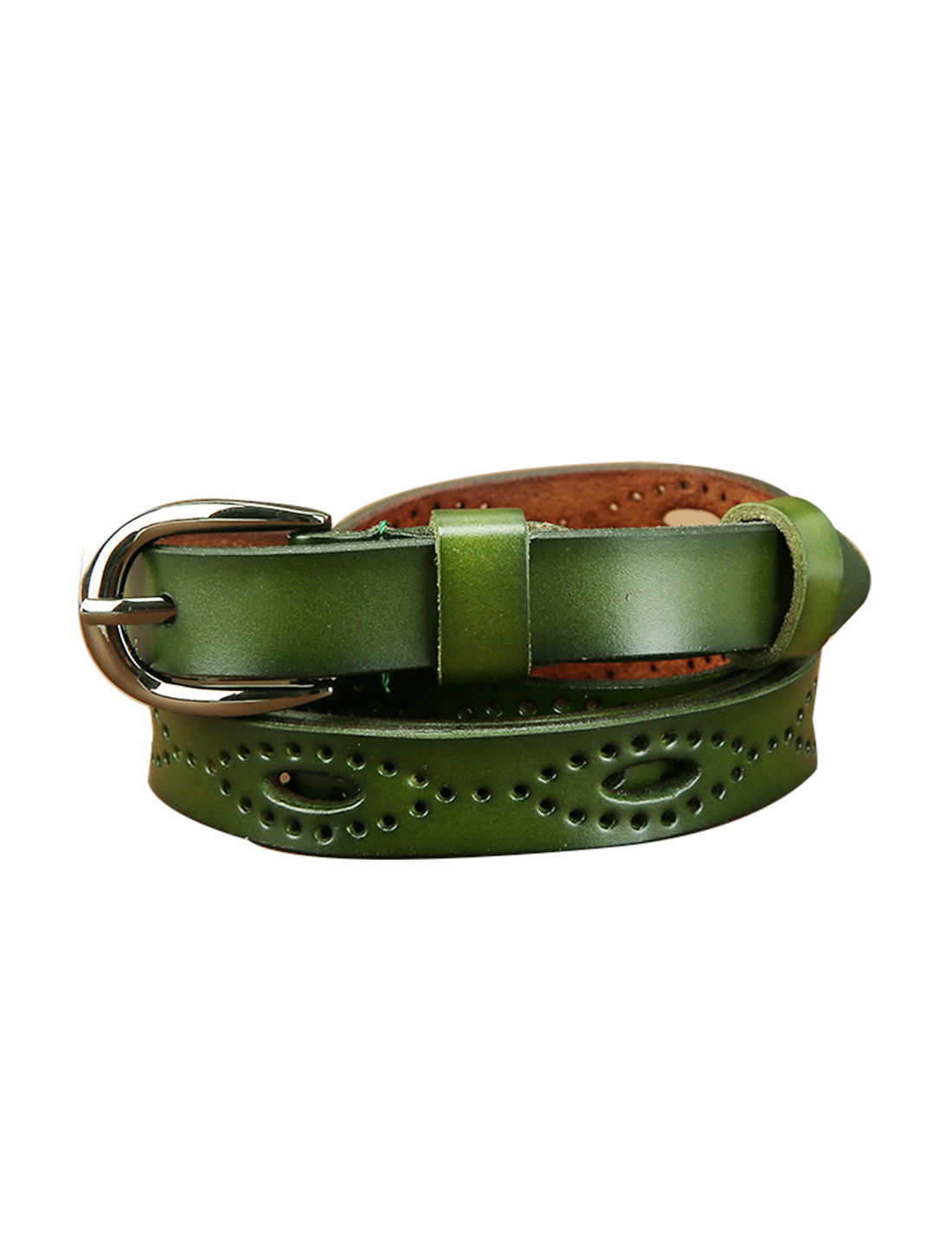 """Women Hollow Out Single Pin Alloy Buckle Casual Leather Belt Width 3/4"""" Moss"""