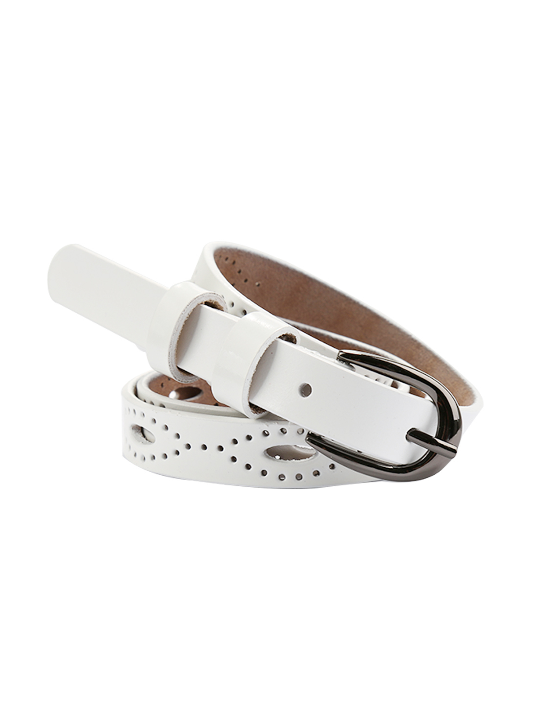 """Women Hollow Out Single Pin Alloy Buckle Casual Leather Belt Width 3/4"""" White"""