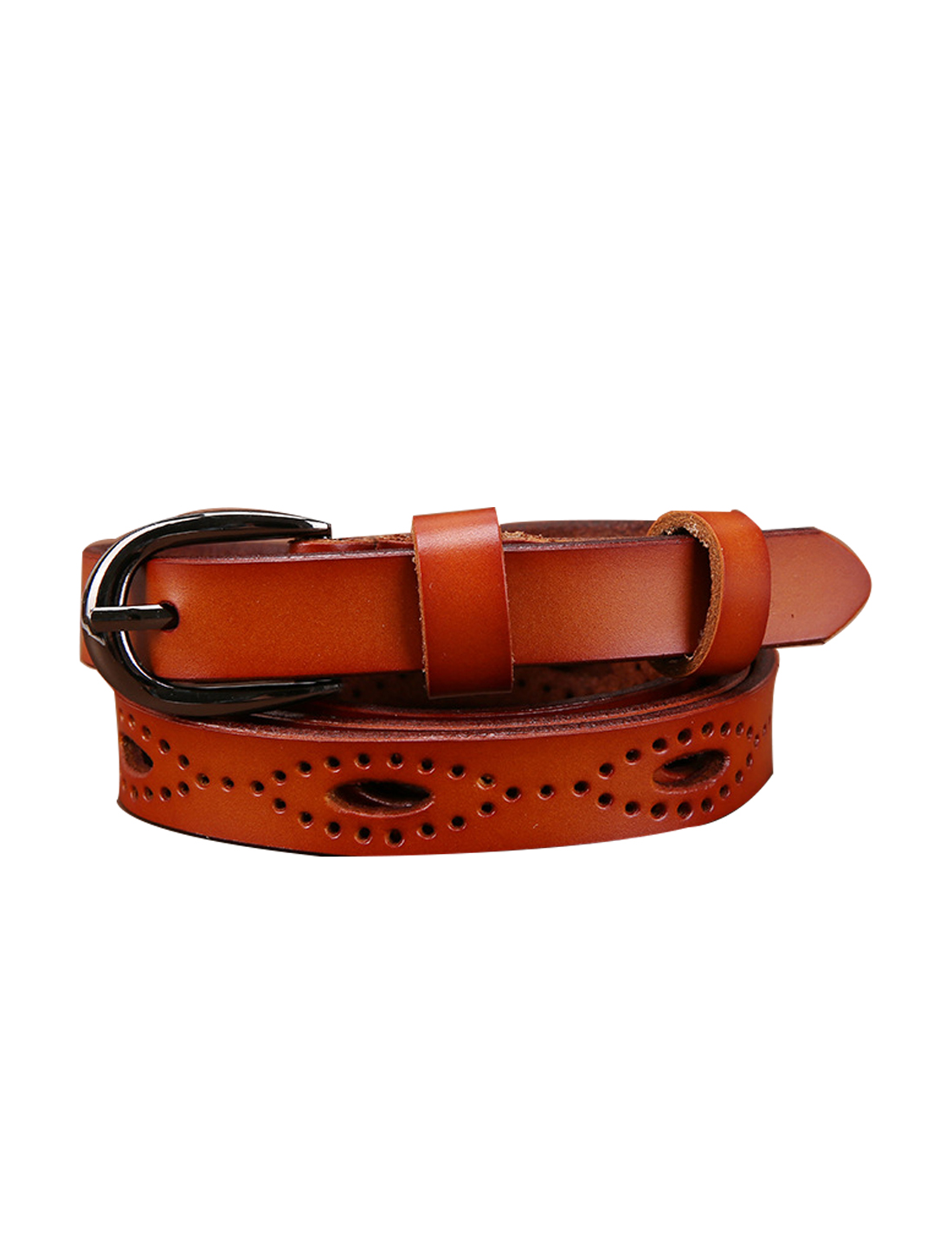 """Women Hollow Out Single Pin Alloy Buckle Casual Leather Belt Width 3/4"""" Rust"""