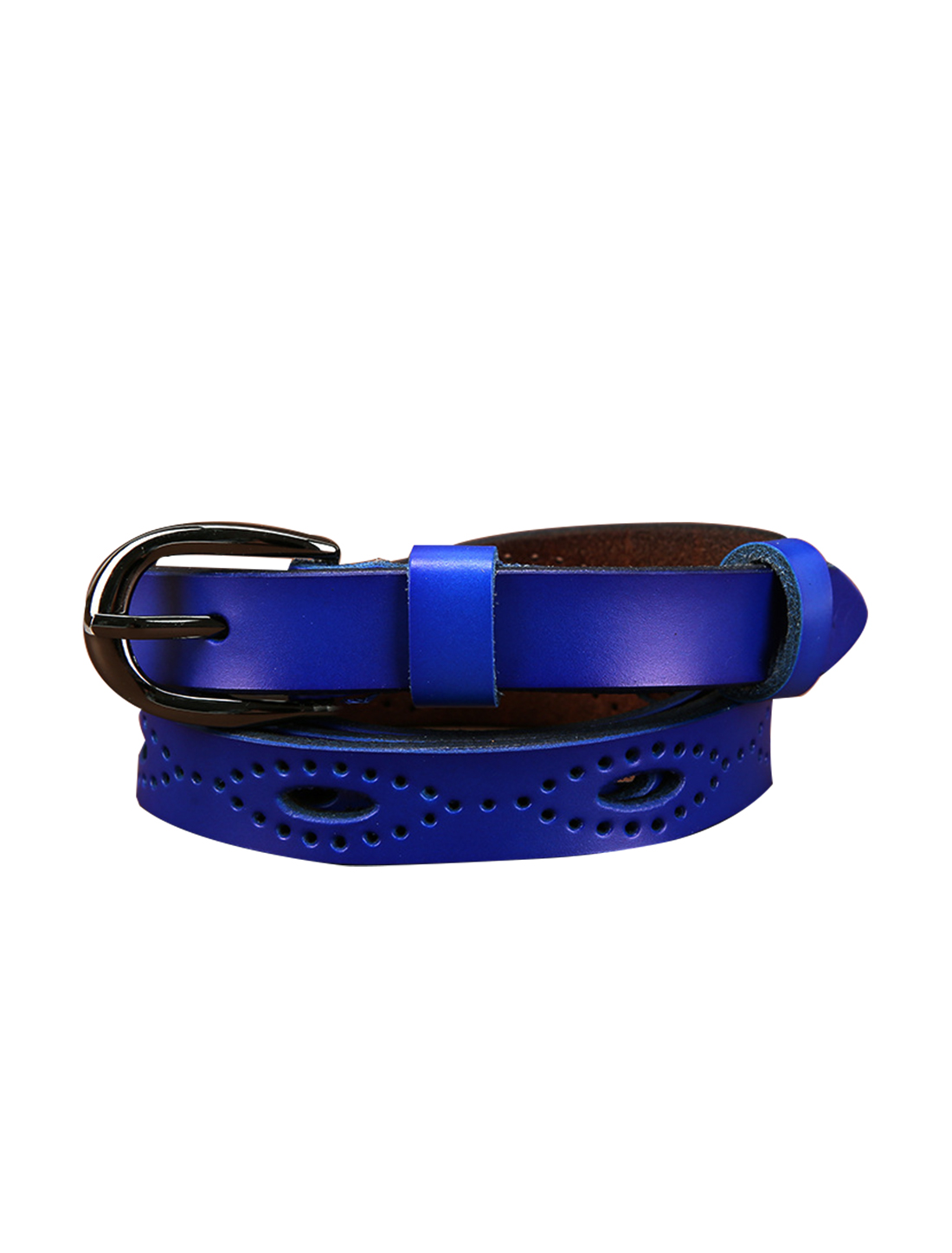 """Women Hollow Out Single Pin Alloy Buckle Casual Leather Belt Width 3/4"""" Blue"""