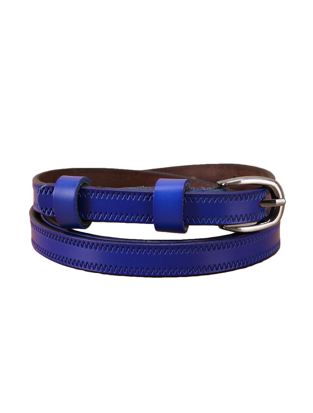 """Women Embossed Stitching Single Pin Buckle Leather Thin Belt Width 1/2"""" Blue"""
