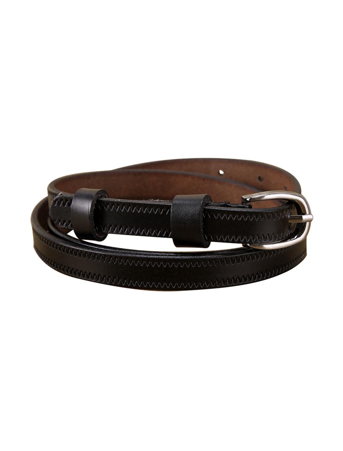 "Women Embossed Stitching Single Pin Buckle Leather Thin Belt Width 1/2"" Black"