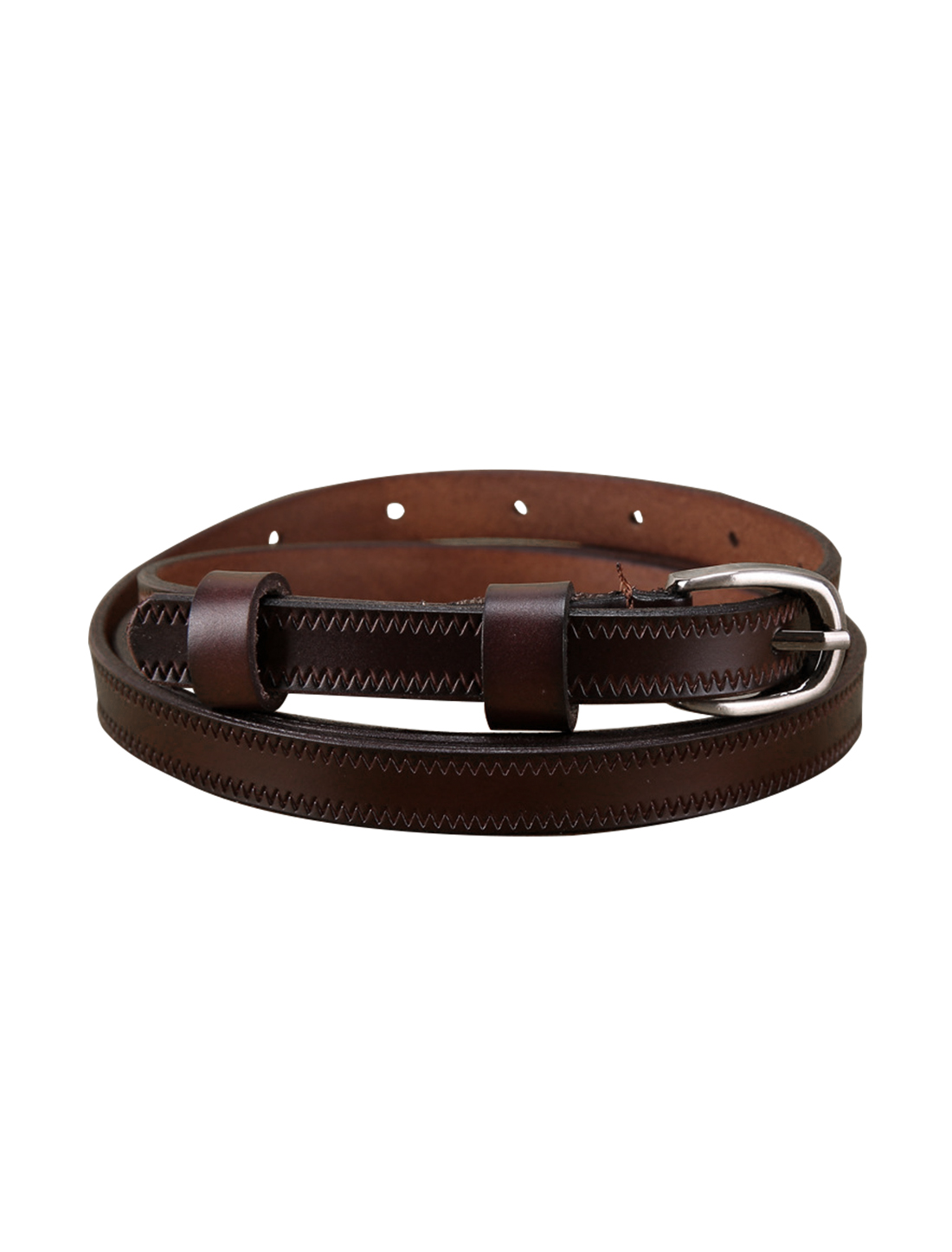 "Women Embossed Single Pin Buckle Leather Thin Belt Width 1/2"" Dark Brown"
