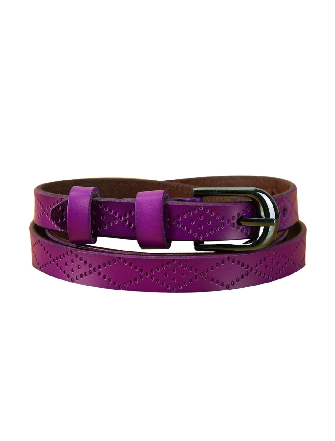 Women Embossed Diamond Pattern Single Pin Buckle Slender Waist Belt Purple