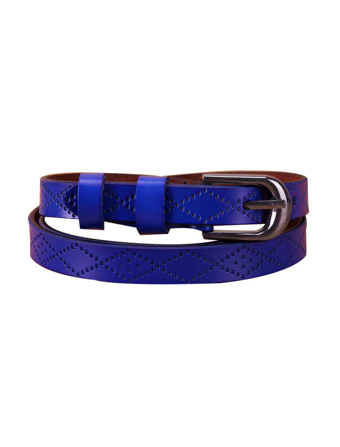 Women Exotic Embossed Diamond Pattern Single Pin Buckle Slender Waist Belt Blue