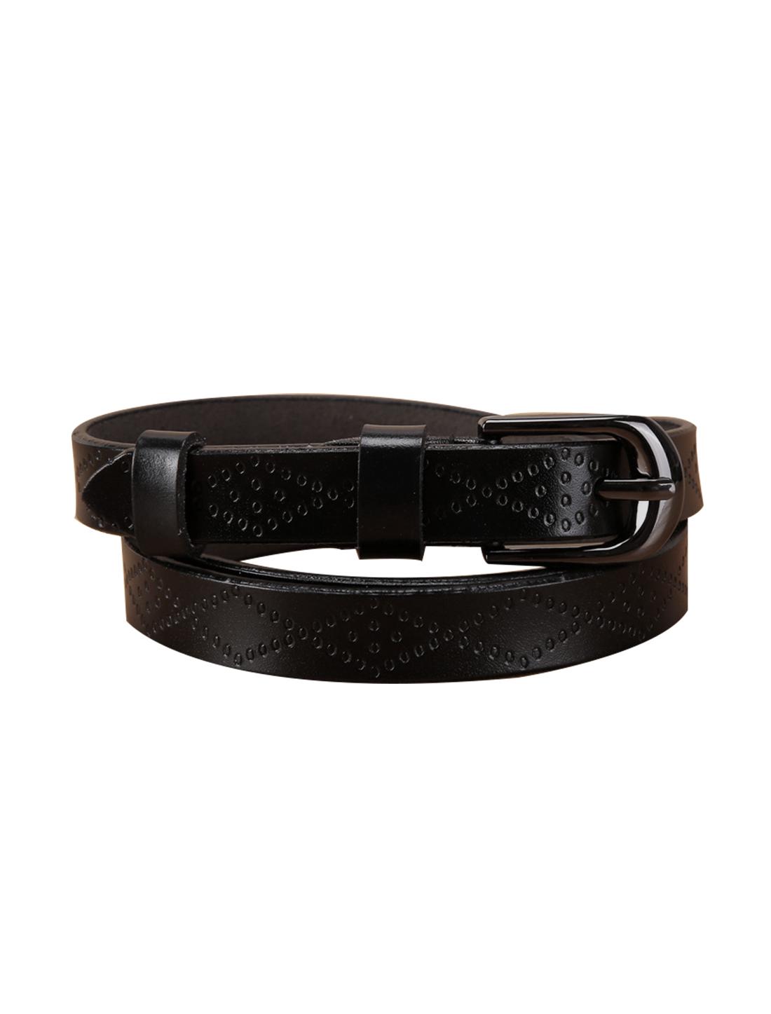 Women Exotic Embossed Diamond Pattern Single Pin Buckle Slender Waist Belt Black