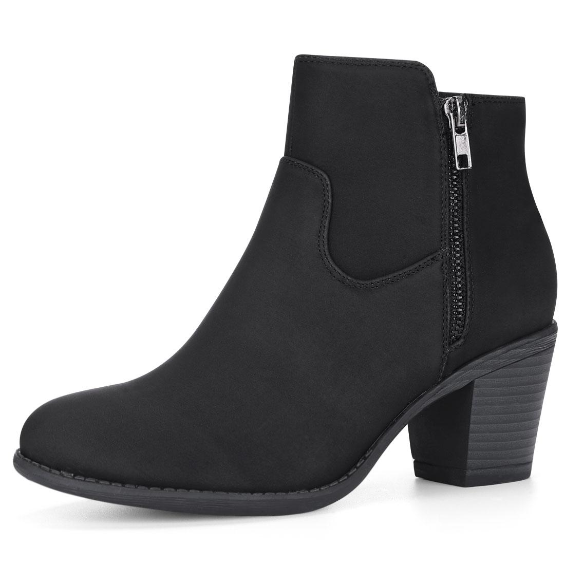 Allegra K Women Round Toe Stacked Chunky Heel Zipper Ankle Boots Black US 7