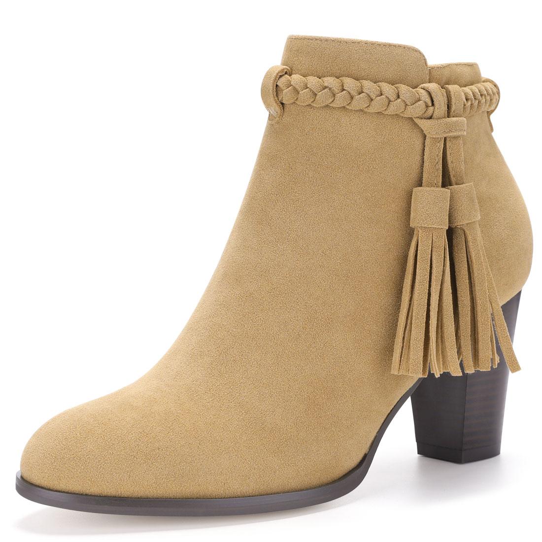 Women Round Toe Braided Tassel Strap Block Heel Booties Brown US 8