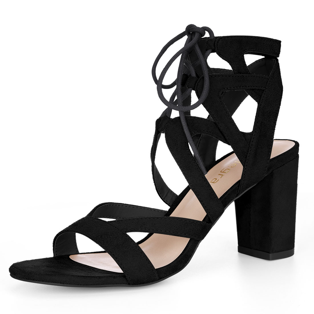 Allegra K Women Cutout Strappy Chunky Heel Lace-Up Sandals Black US 7.5